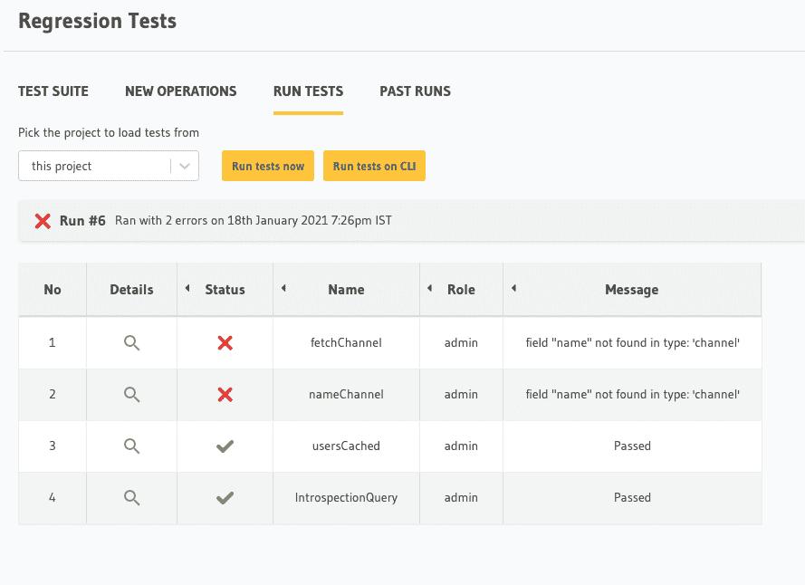 Running a regression test suite