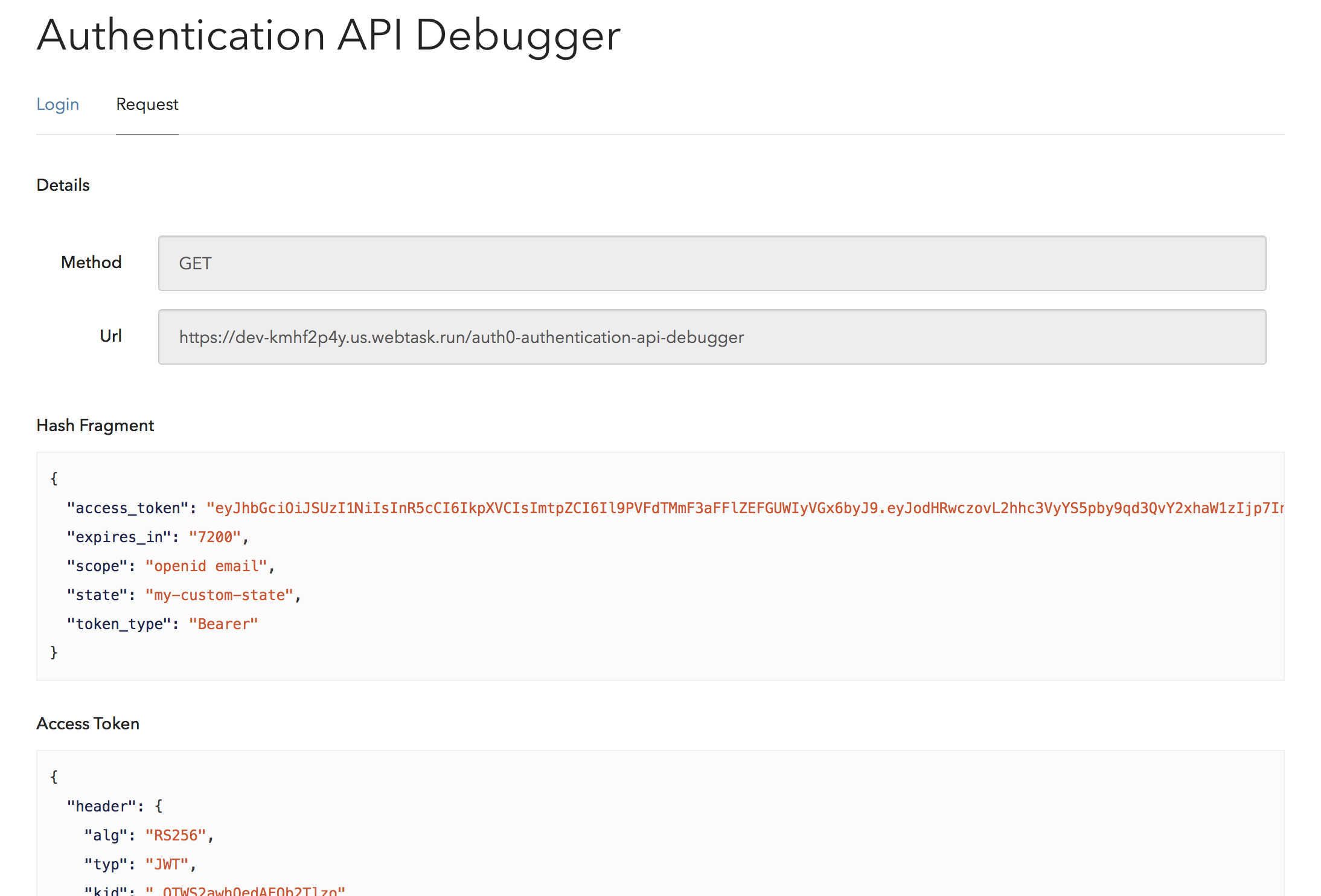 Authentication Debugger Access Token