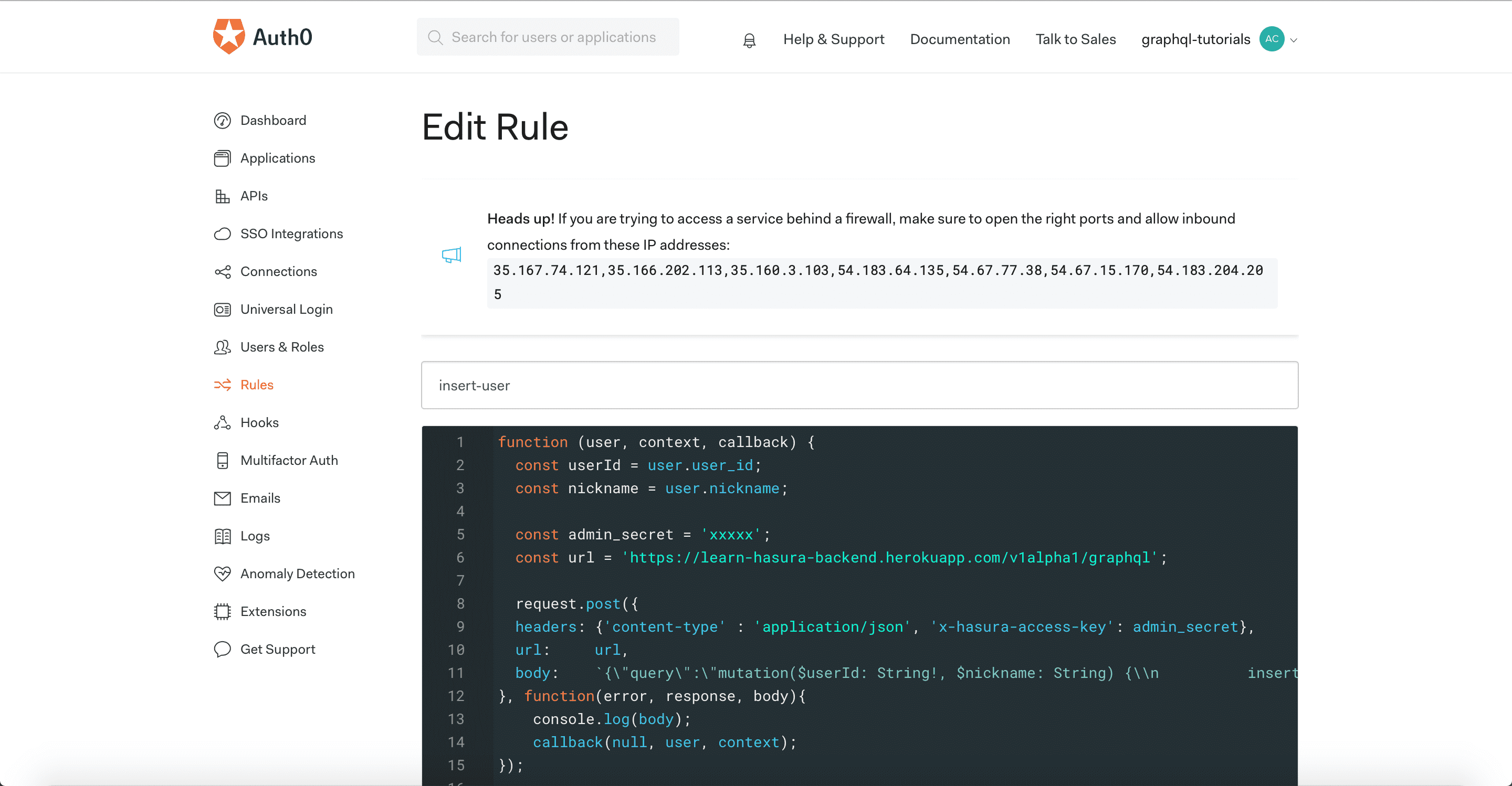 Auth0 insert rule